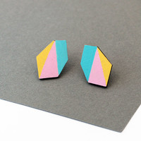 Geometric faceted diamond geo shape stud earrings - yellow, pink, blue - minimalist, modern hand painted wooden jewelry