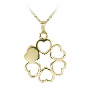 14K Gold Filled Circle of Hearts Necklace