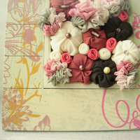 Shabby chic fabric flower hanging art - home decoration - pink brown grey ivory white - OOAK spring bouquet