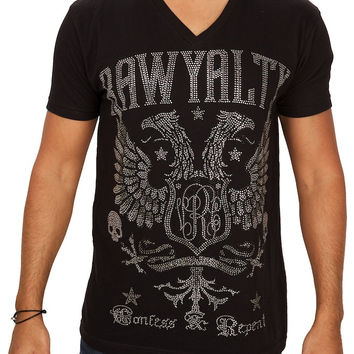 Rawyalty Couture Men's Firebird Crystallized V-Neck T-Shirt Black
