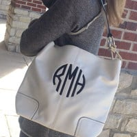 Monogram WHITE Colored Purse Leather like Font shown NATURAL CIRCLE in black