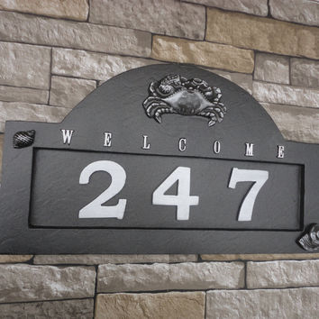 "Nautical Crab and Seashell House Numbers / Beach ADDRESS PLAQUE / Black and Platinum Wedding Gift LARGE 18"" X 11"""