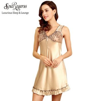 Women Lace Sleep Lounge New Ladies Sexy Nightgown Summer Female Faux Silk Satin Short Nightdress For Woman