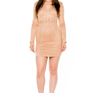 (akw) Laced up on waist long sleeves short dress -Beige-