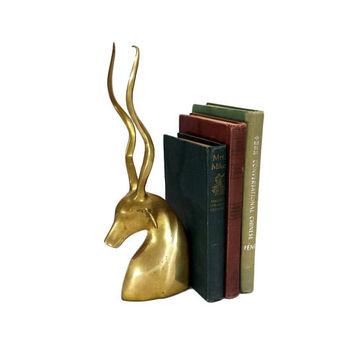 Brass Bookend Gazelle Antelope Vintage Antler Animal Gold Library Home Office Decor Gift for Book Lovers Bibliophile