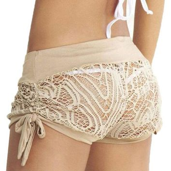 Plus Hollow Shorts beach Summer Fashion Womens Shorts drawstring Lace Crochet Elastic Waist Slim Short Pants streetwear shorts