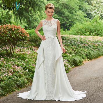 Dressv Bateau Neck A-line Wedding Dress Sleeveless Court Train Lace Beading Bow Button Church Garden Princess Wedding Dresses
