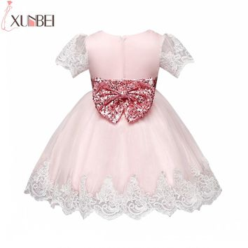 Cute Sequin Bow Sash Flower Girl Dresses 2018 Short Sleeves First Holy Communion Dresses Lace Appliques Pageant Dresses For Girl
