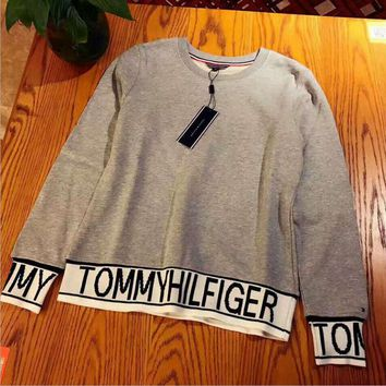 """Tommy Hilfiger"" Fashion Casual Long Sleeve Top Pullover Sweatshirt"