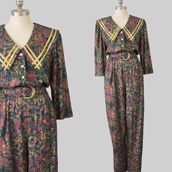 80s Harem Pant Jumpsuit / 1980s Tapestry Print Floral Jumpsuit / Metallic Gold Trim Collar 3/4 Sleeves Belted Rayon Onesuit Pantsuit / M/L