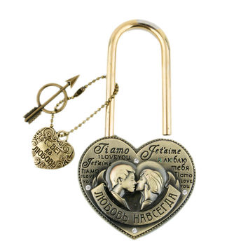 Exclusive design Wedding souvenirs Lock don't separate together forever.One-time lock.Lock the brooklyn bridge.Seine lock.