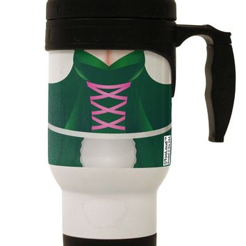 Sexy Dirndl Costume Green Stainless Steel 14oz Travel Mug All Over Print by TooLoud