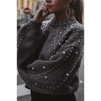 Bead Lantern Sleeve Knitted Pullover Sweater