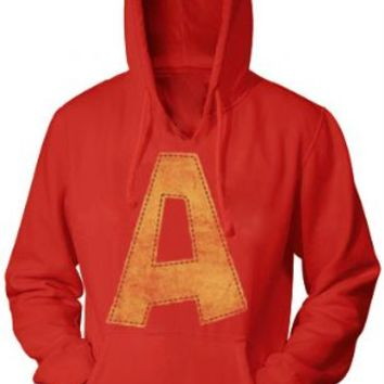 Alvin and the Chipmunks Alvin A Distressed Red Adult Hoodie Sweatshirt