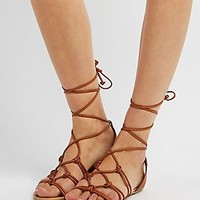 KNOTTED LACE-UP SANDALS