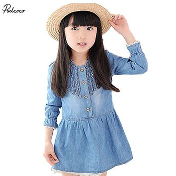2017 Hot Child Girl Kids Casual Blue Denim Lace Cowboy Clothes Long Sleeve Dress clothes sets