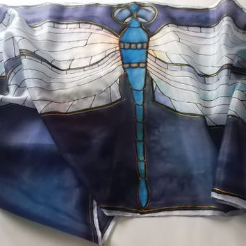 """Custom order Hand painted Silk scarf """"Spread Your Wings"""""""