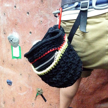 RASTA Handmade Chalk Bag // Crochet Rock Climbing Chalk Bag, Rock Climbing Gear, Cotton, Fleece & Nylon w/ smartphone or iphone pocket