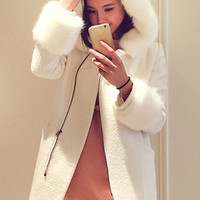 Fur Design Hooded Long Sleeve Zippered Coat