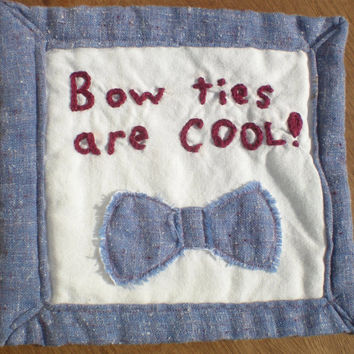Bow Ties Are Cool Dr Who geekery mug rug desk protector coaster repurposed fabrics