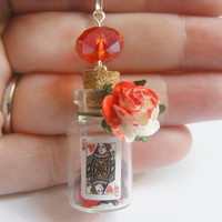 Queen of Hearts Bottle Necklace Miniature Food Pendant - Miniature Food Jewelry, Handmade Jewelry Necklace