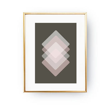 Brown Pink White, Textured Wall Art, Abstract Shapes, Simple Print, Mid Century Decor, Geometric Rhombus, Pastel Decor, Minimalist Poster