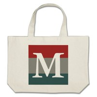 Red Teal and Gray Striped Color Palette Monogram Large Tote Bag