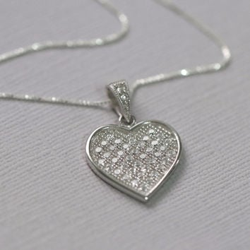 Sterling Silver CZ Heart Pendant Necklace, Sterling Silver Heart Necklace, Silver Heart Necklace