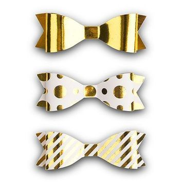Medium Assorted Metallic Gold Paper Bows (Pack of 12)