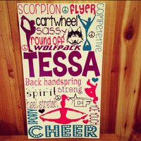 """Personalized Wooden Teen Girl Cheer Sign- 12x20"""""""