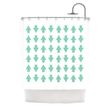 "Project M ""Arrows Up and Down Mint"" Shower Curtain"