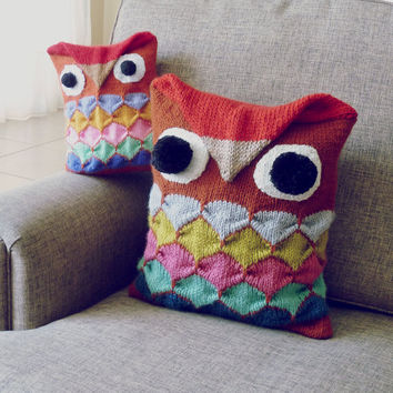 Owl Pillow knit pattern  or toy tutorial PDF - Decorative geometric - houseware cushion PHOTO tutorial knitting geometric - knitted toys