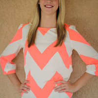 """Southern Chevron"" Top: Neon Coral by Hello Glam 