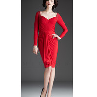 Mignon Fall 2013- Red Long Sleeve Ruched Short Dress - Unique Vintage - Prom dresses, retro dresses, retro swimsuits.