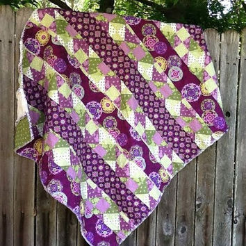 Rag Quilt Purple & Green Stripe Pattern Hand by TwoSisters2Sis