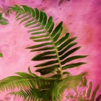 Tropical Nature print, colorful pink orange green fern art - home decor, wall art, wall decor, tropical art for spring and summer