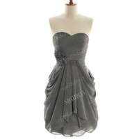 grey bridesmaid dress, chiffon bridesmaid dresses, short bridesmaid dress, chiffon prom dress, short prom dress,  BE0173