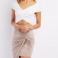 WRAPPED PLUNGING CROPPED TEE
