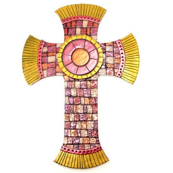NEW Ruby, Copper and Gold Mosaic Cross, Decorative Cross, Religious Wall Art, Easter Cross, Religious Gifts, Baptism Gift, Confirmation Gift