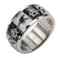 "SOA ""ANARCHY, CROW AND GUNSIKCLE LOGO"" RING BY INOX JEWELRY"