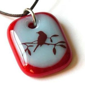 Bird Silhouette A fused glass pendant necklace by ellecools