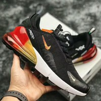 NIKE Air Max 270 new fashion yellow red air cushion couple shoe Black