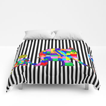 Elephant Festival |Family Walk | #society6 Comforters by Azima