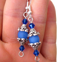 "Beautiful Blue and Silver ""Anastasia"" Pierced Earrings Czech Glass Crystals"