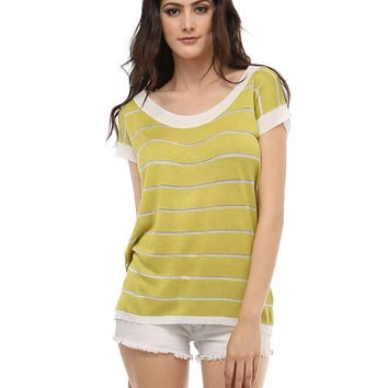 Vivid Wide Stripe Lime Green Knit Top