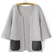 Light Grey Contrast Leather Pockets Half Sleeve Knit Cardigan