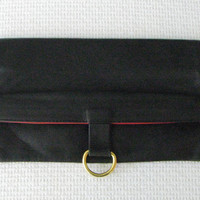 Gorgeous Black Soft Leather Mark Cross Fold Over Clutch