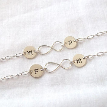 Set of 2 Personalized Infinity Friendship Bracelets ~ Infinite Friendship, Initial, Sterling Silver, Sister Bracelets ~ Made to Order