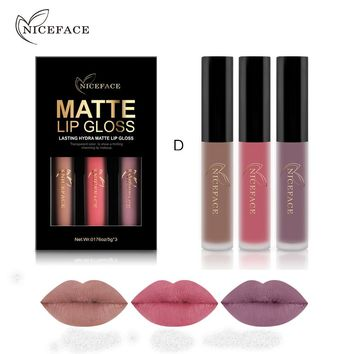 NICEFACE 3pcs/lot Lipstick Sets Long-Lasting Matte Liquid Lip Stick Kits Makeup Waterproof Velvet Batom Nude Lip Gloss Cosmetics