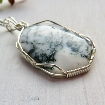 Men's Wire Wrap Silver Dendritic Agate Pendant Necklace